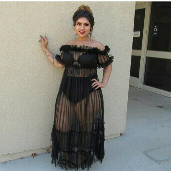 Black Sheer Ruffle Dress Cover Plus 2x NWT